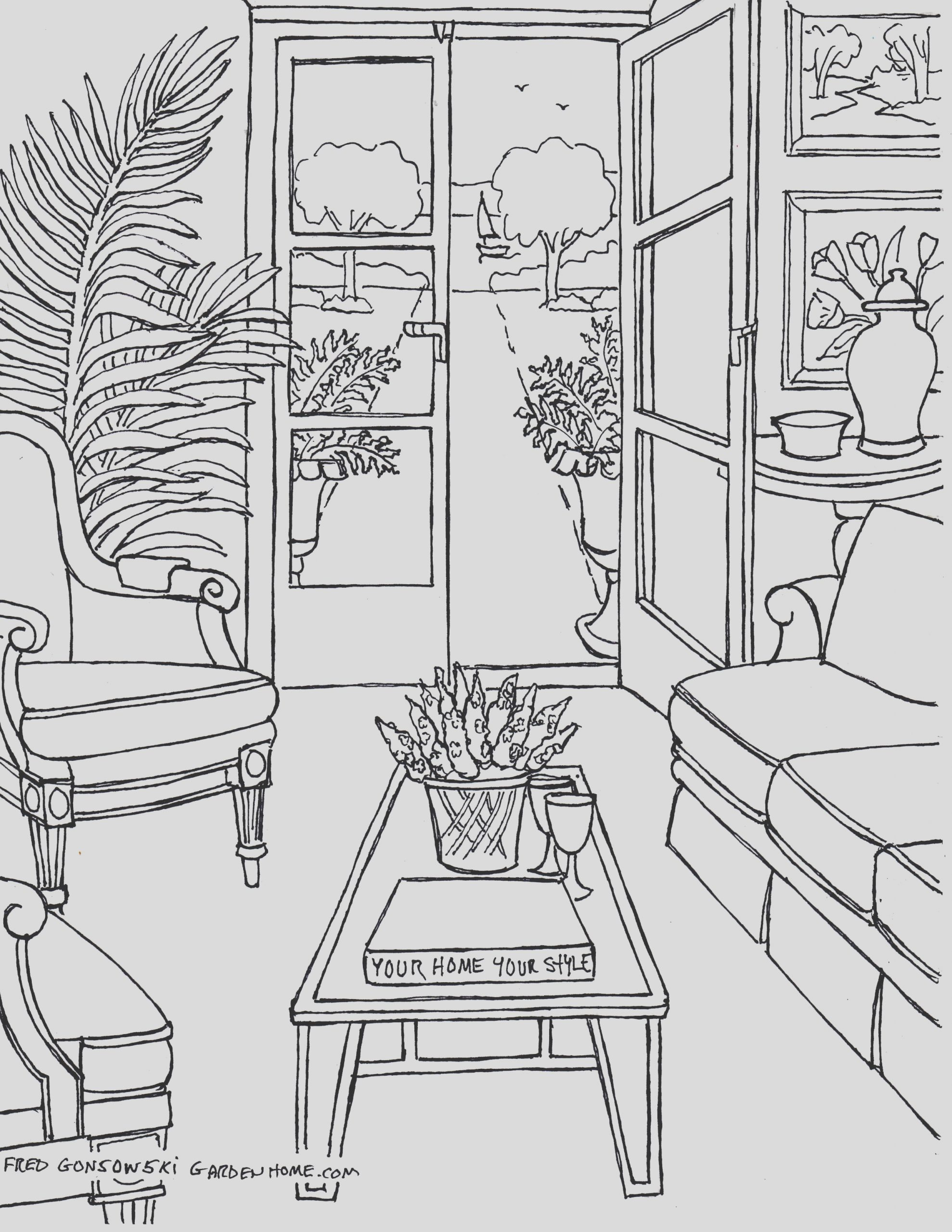 coloring for adults some drawings of living rooms for adults to color