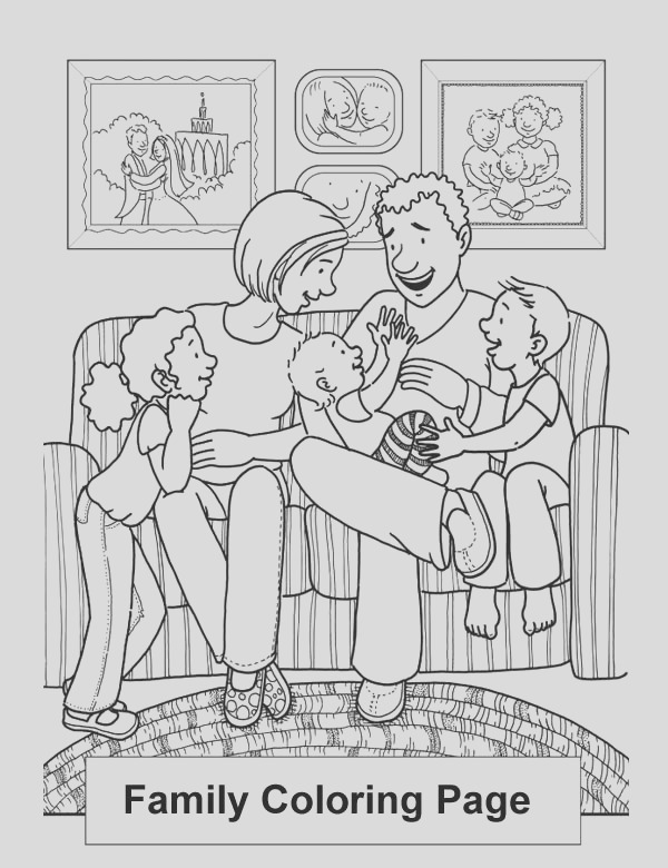 happy family in the living room coloring page