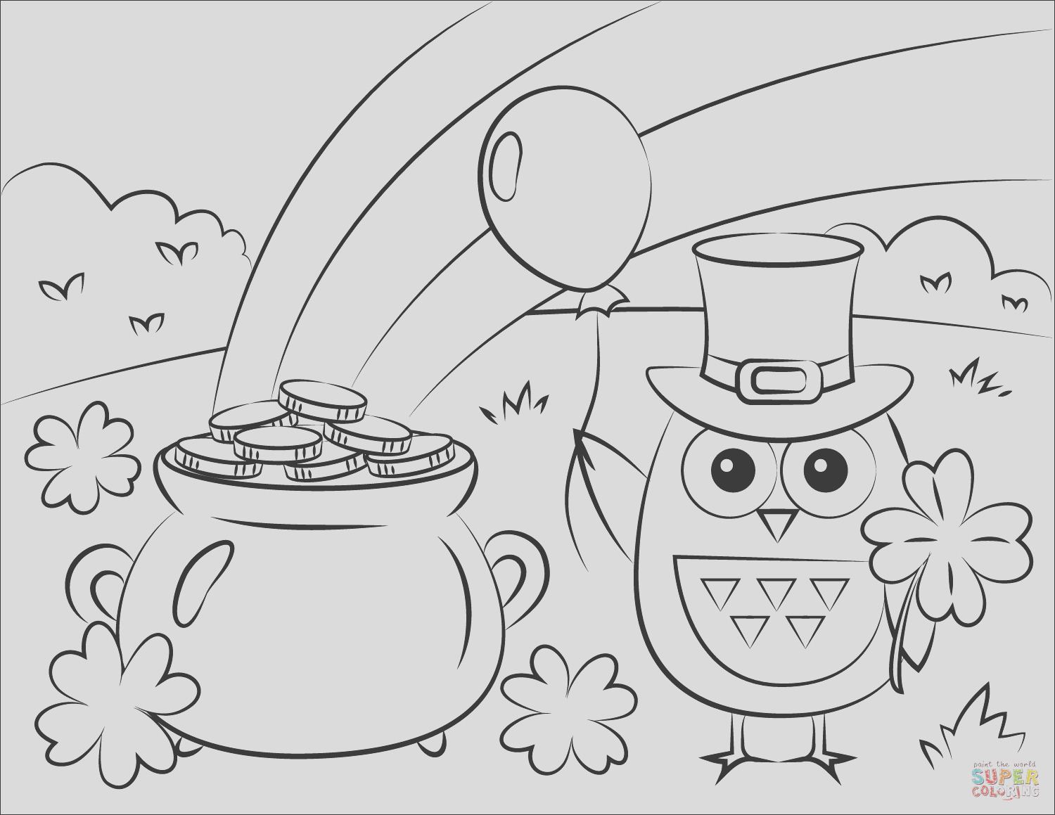 pot of gold rainbow and st patricks day owl