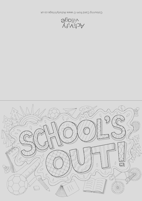 schools out doodle colouring card