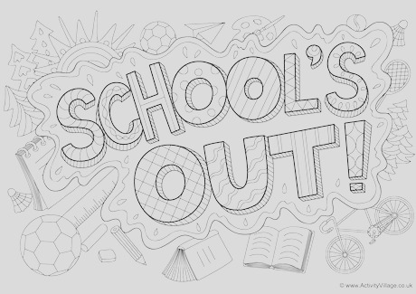schools out doodle colouring page