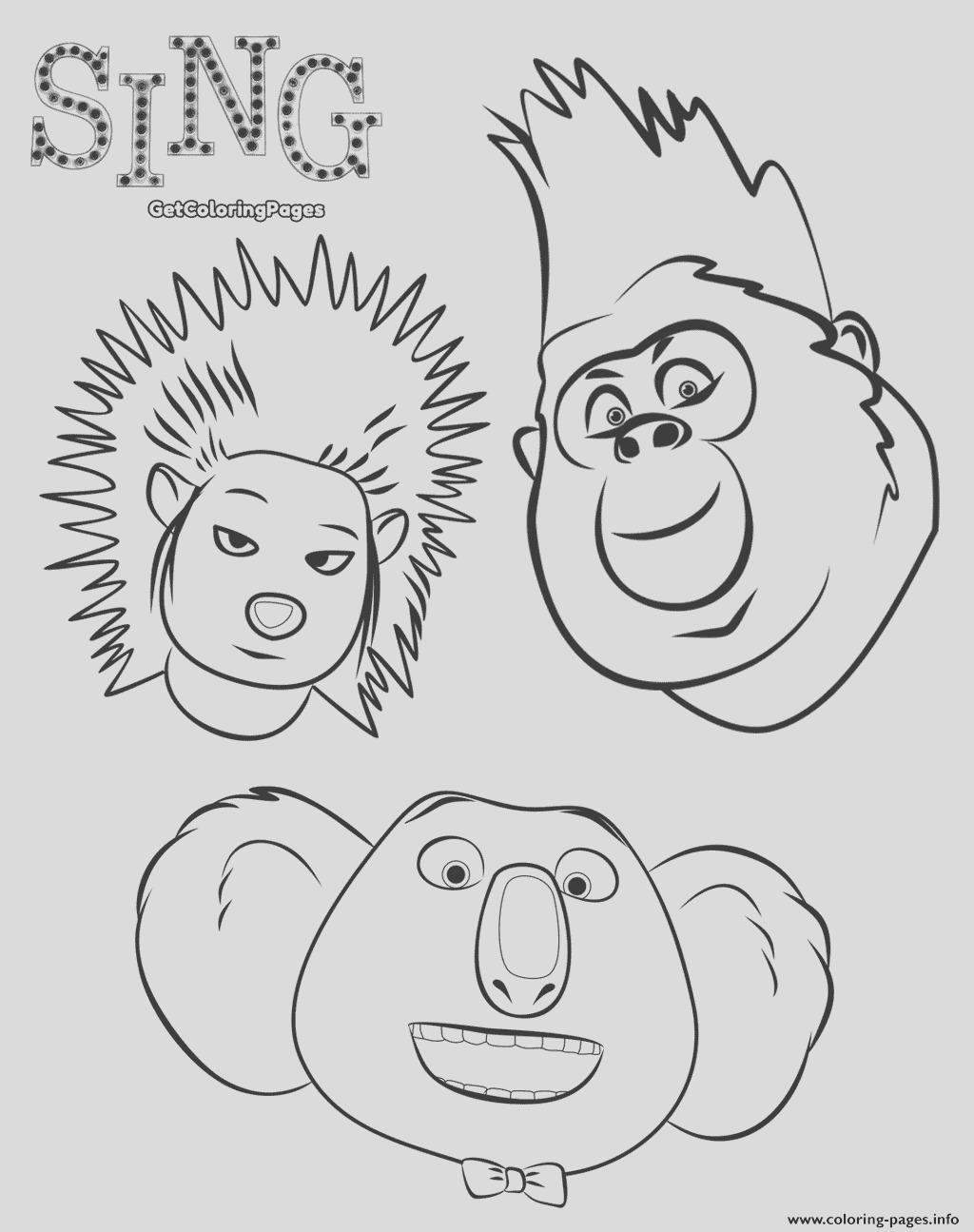 animals from sing the movie printable coloring pages book