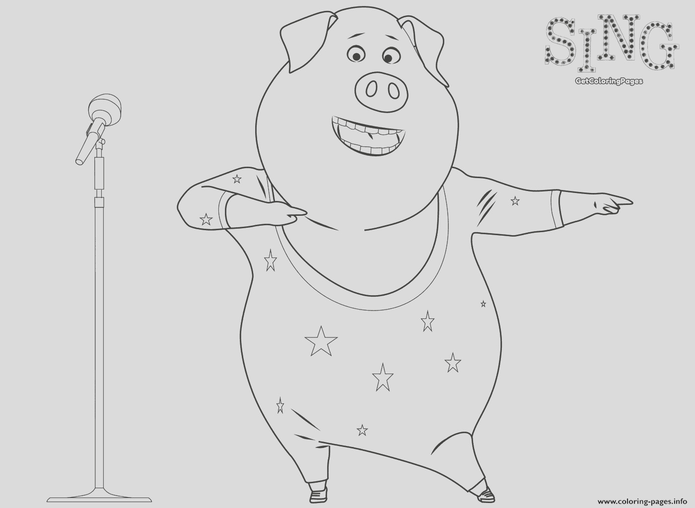 sing coloring page dancing pig printable coloring pages book