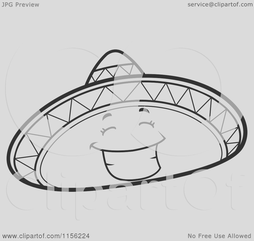 black and white happy sombrero hat character smiling