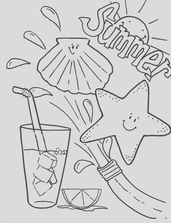 summertime fresh drink coloring page