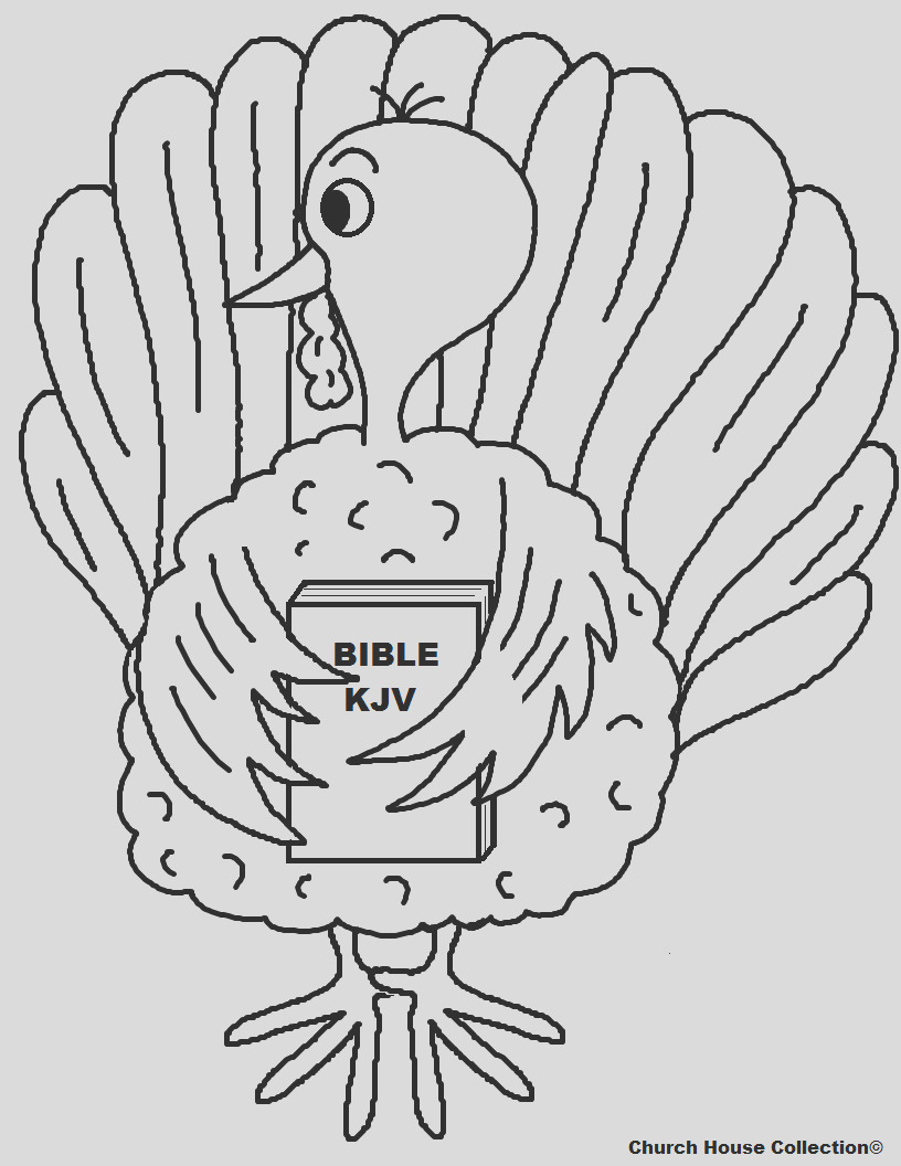turkey holding bible coloring page for