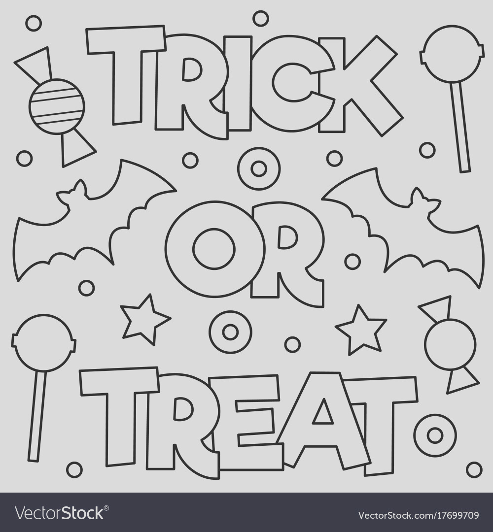 trick or treat coloring page vector