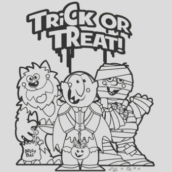 trick or treat halloween coloring page