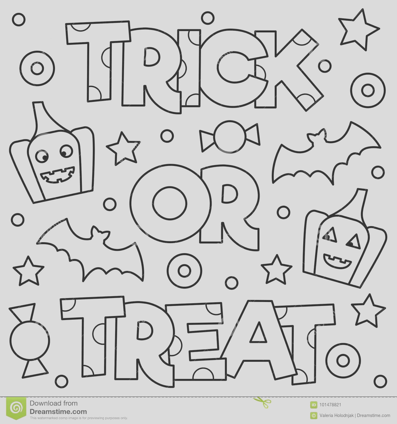 trick treat coloring page black white vector illustration trick treat coloring page vector illustration image