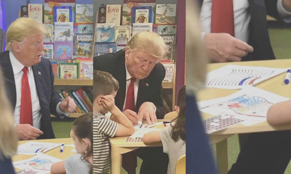 trump s demolished after photo op with ohio kids shows him coloring the us flag wrong
