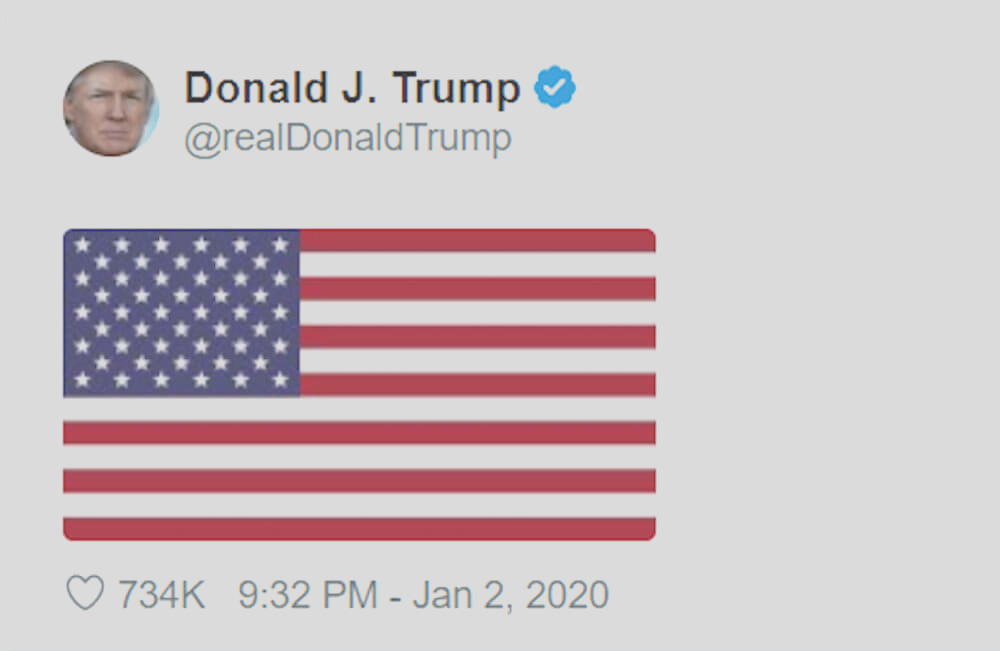 trump tweets racist symbol after killing prominent person of color