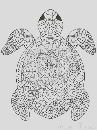 stock illustration sea turtle coloring vector adults book illustration anti stress adult zentangle style black white lines lace image