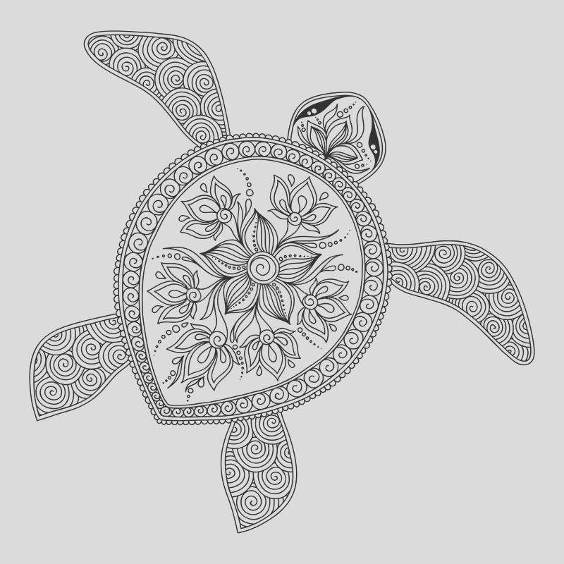 stock illustration pattern coloring book decorative graphic turtle pages kids adults henna mehndi tattoo style doodles image
