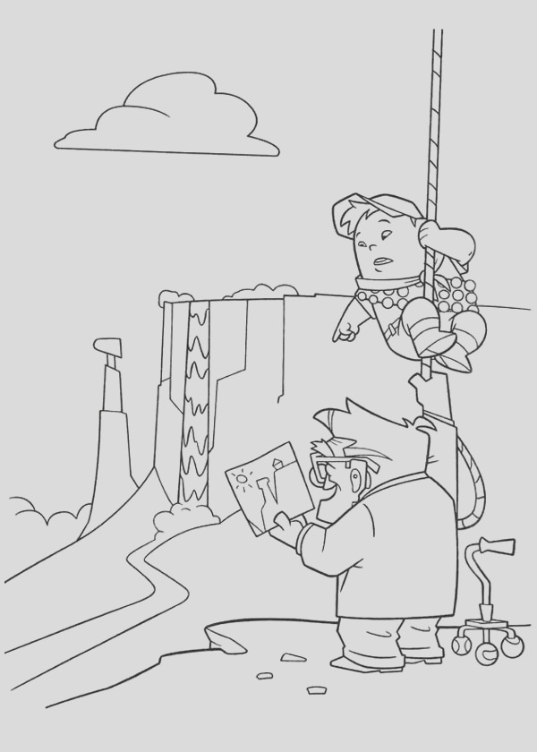 russell and carl looking at the map in disney up coloring page