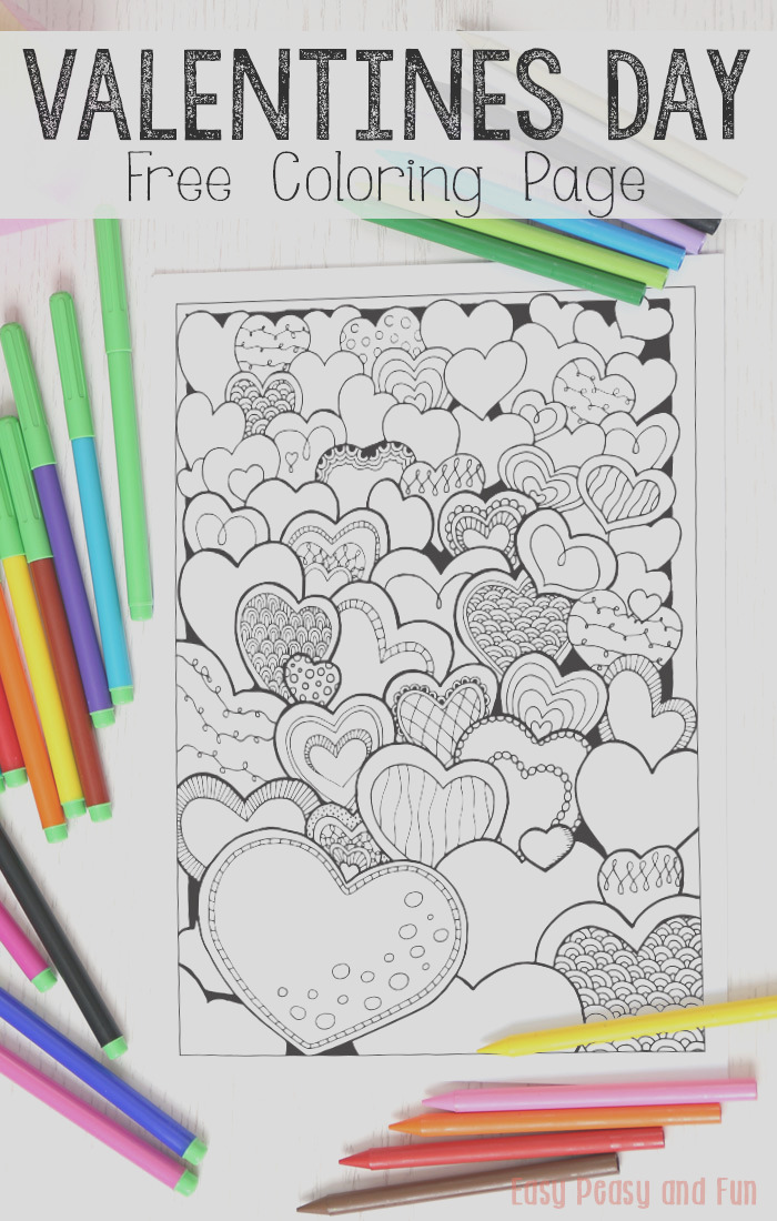 field of hearts valentines day coloring page for adults and kids