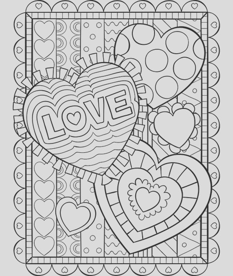 valentine hearts coloring page