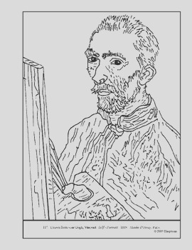 van Gogh Self Portrait Coloring page and lesson plan ideas