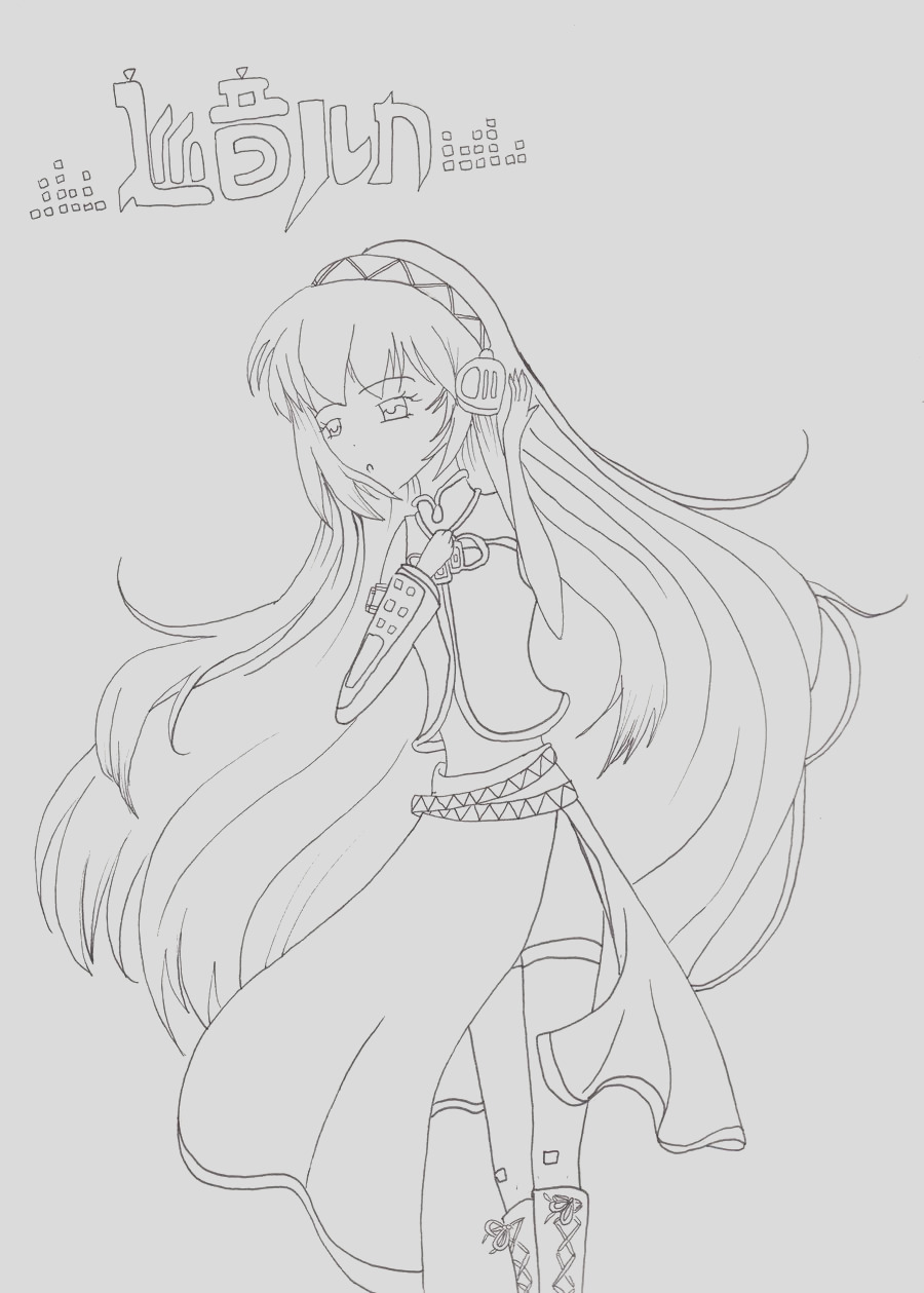 Vocaloid Luka Line Art Coloring Page