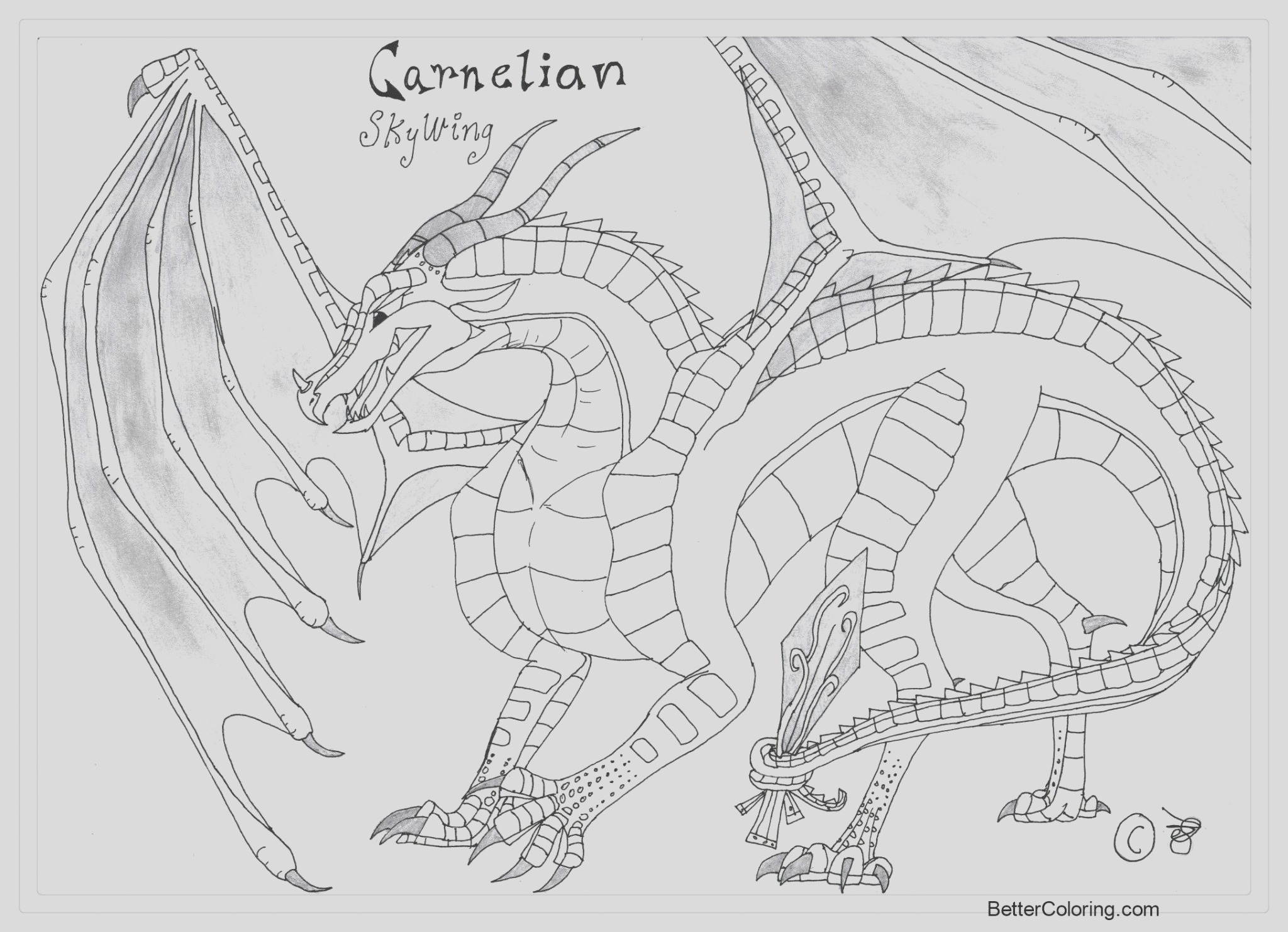 wings of fire coloring pages carnelian in jade winglet by rhynobullraq