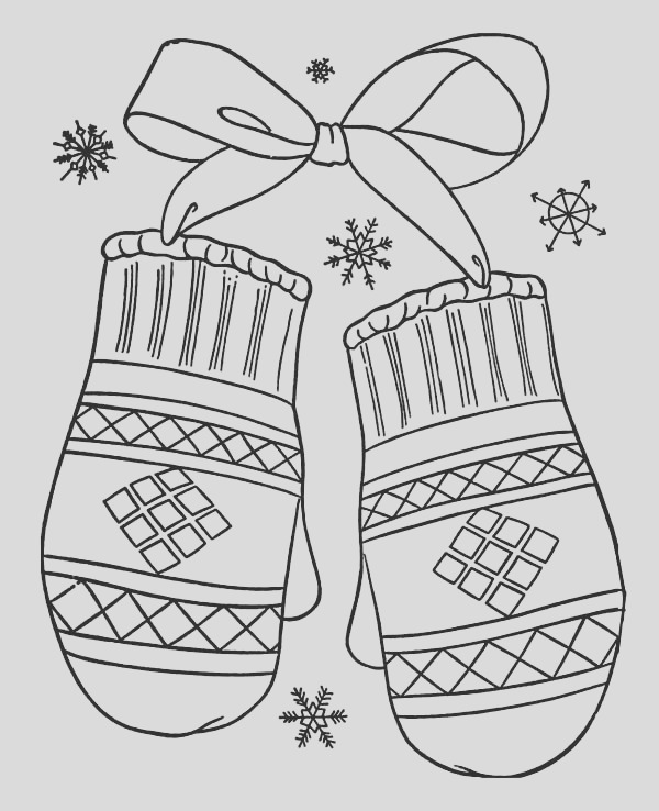 lovely mittens t for winter season coloring page