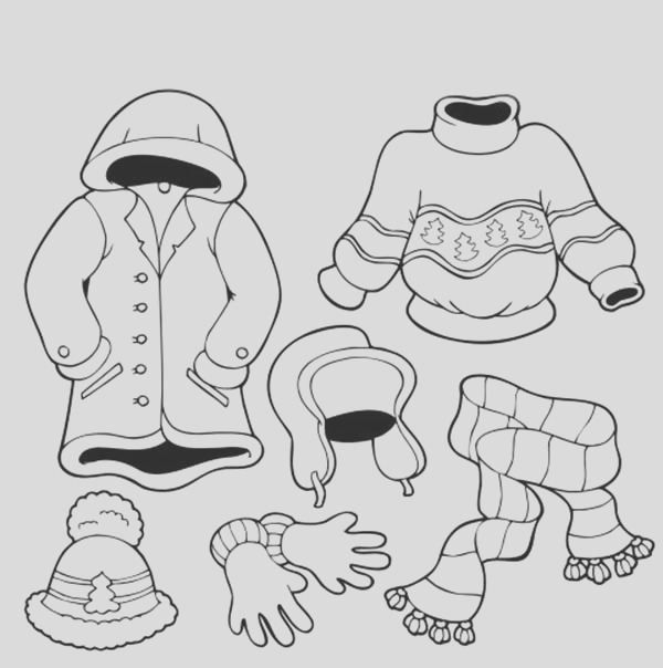 how to draw winter season clothing coloring page