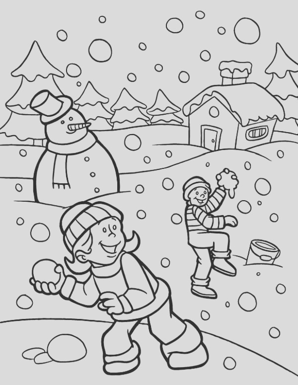 hilarious snownall fights during heavy snow on winter season coloring page
