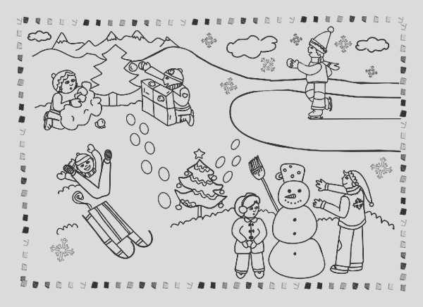 all kind winter season outdoor activities coloring page