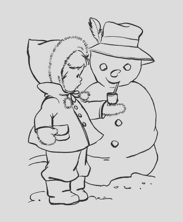 lovely kid putting a pipe for mr snowman on winter season coloring page