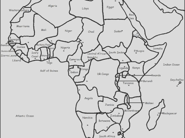 countries of africa printable worksheets with a map of africa