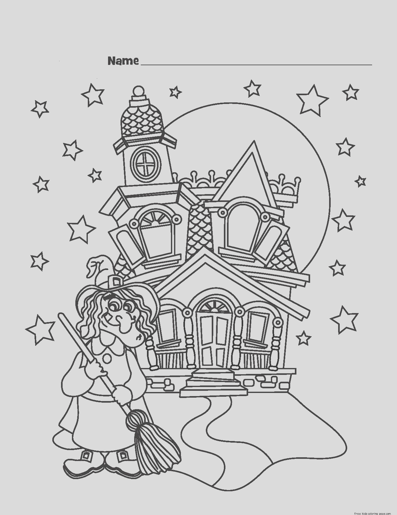 printable halloween witch castle coloring pages