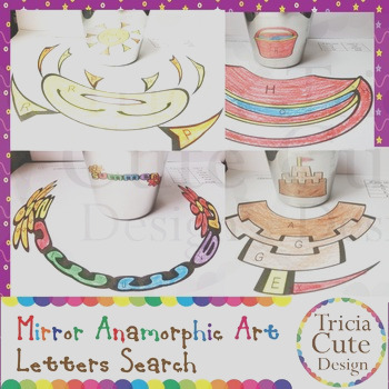 Summer Letter Search Mirror Anamorphic Art Coloring Colored by Letters Search