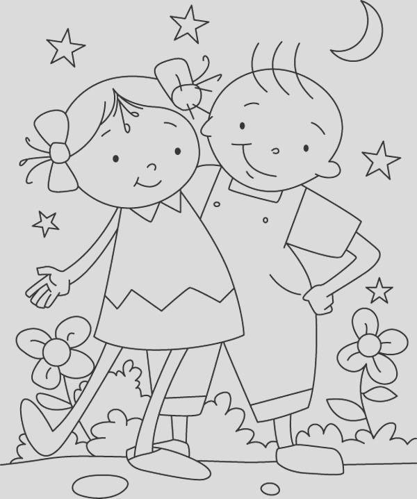 having fun with my bestfriend on friendship day coloring page