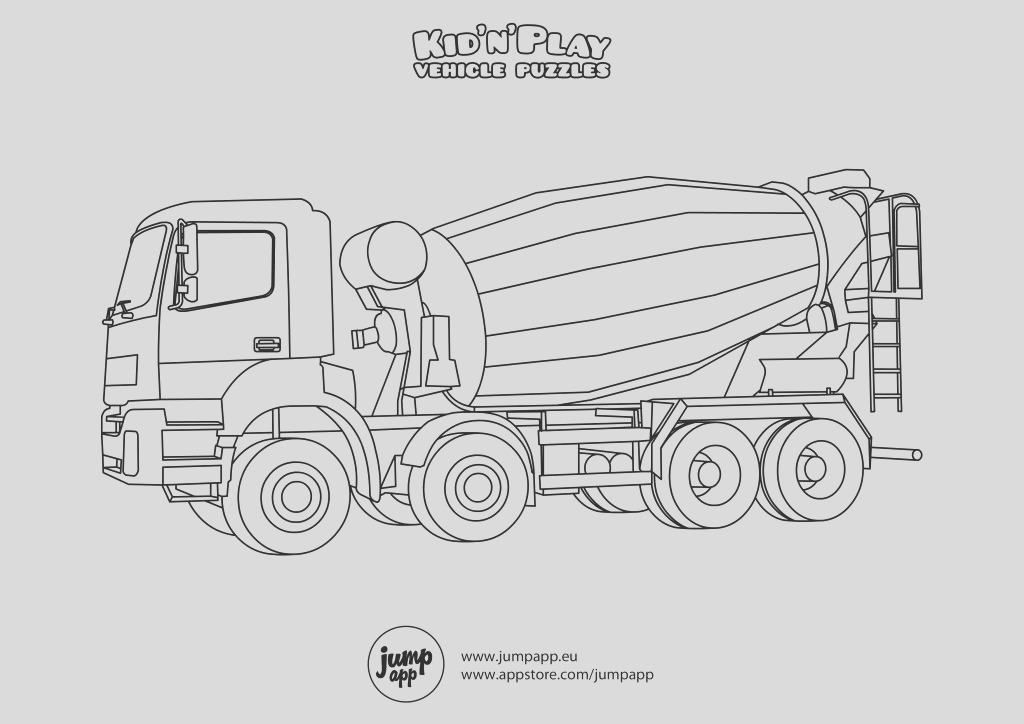 noisy cement mixer truck coloring pages