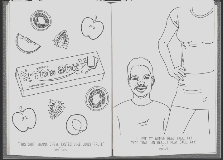 a free coloring book based on the lyrics from chance the rappers new mixtape