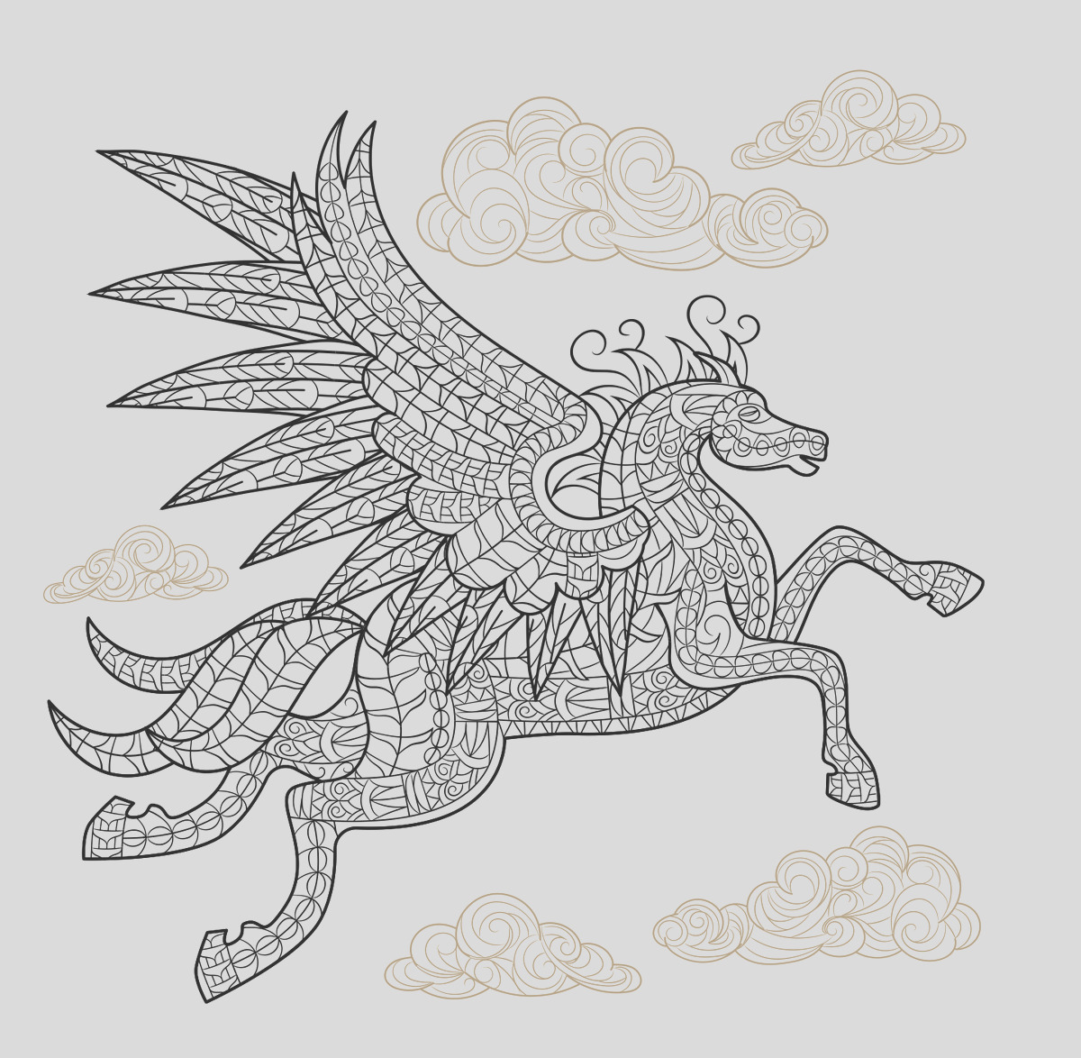 pegasus winged horse coloring page