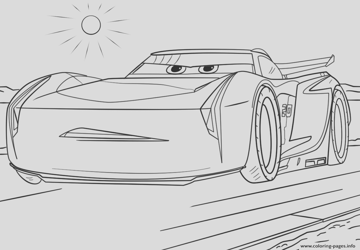 jackson storm from cars 3 disney printable coloring pages book