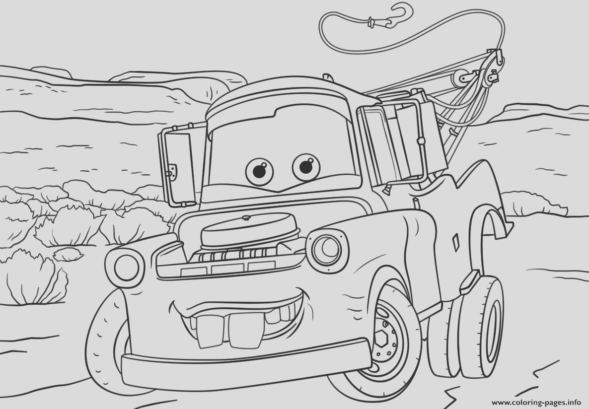 tow mater from cars 3 disney printable coloring pages book