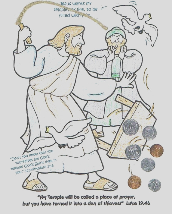 jesus cleans the temple coloring page
