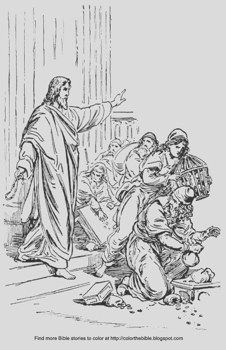 jesus cleanses temple coloring sheet
