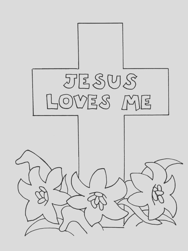 jesus loves me cross coloring page