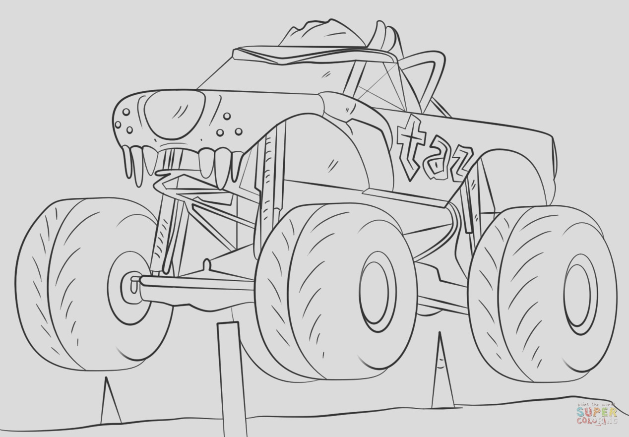 taz monster truck coloring page free printable for kids