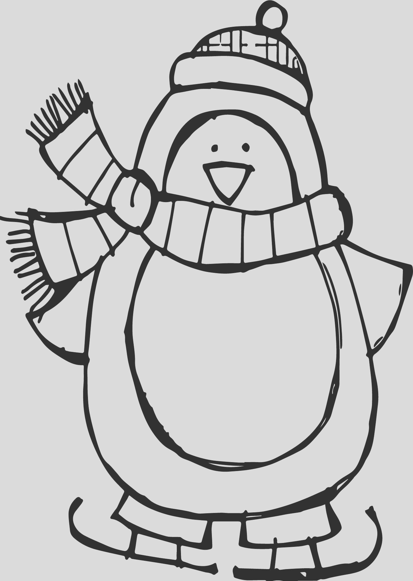 winter basic penguin coloring page