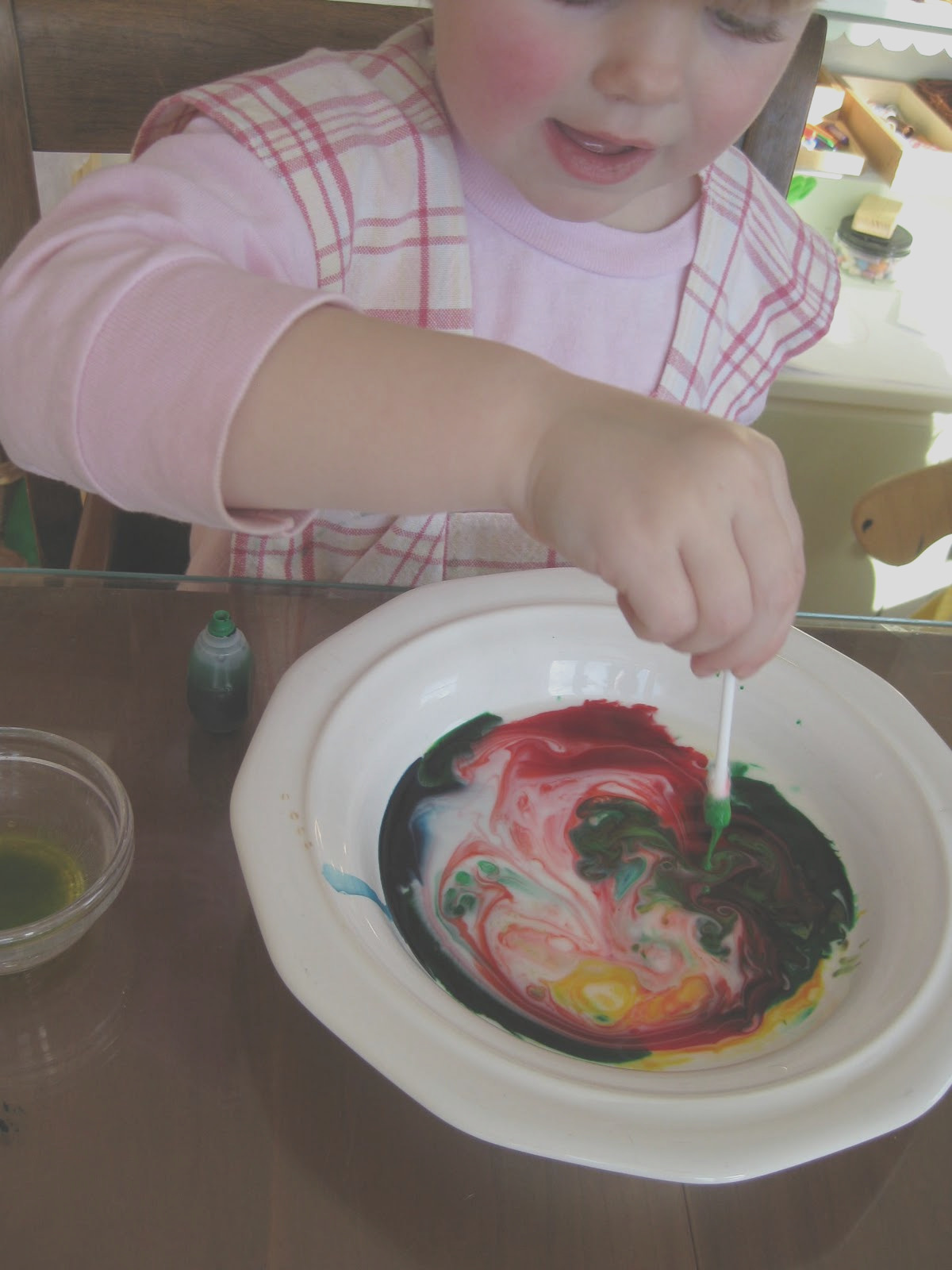 color mixing milk food coloring and