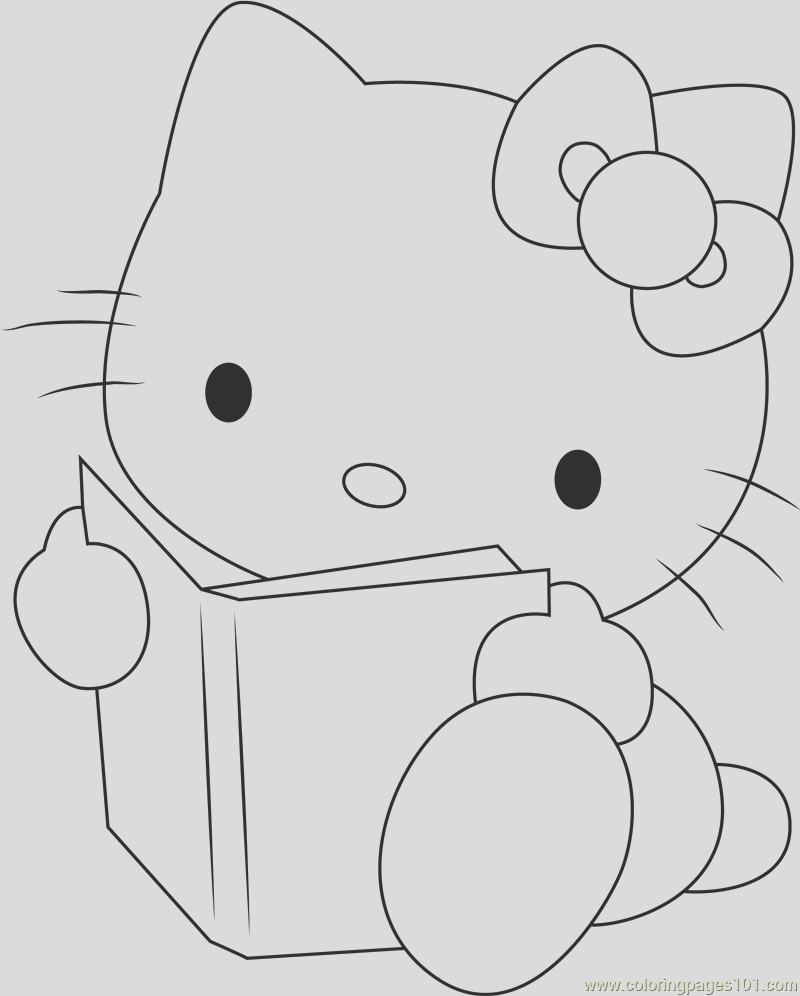hello kitty reading a book coloring page