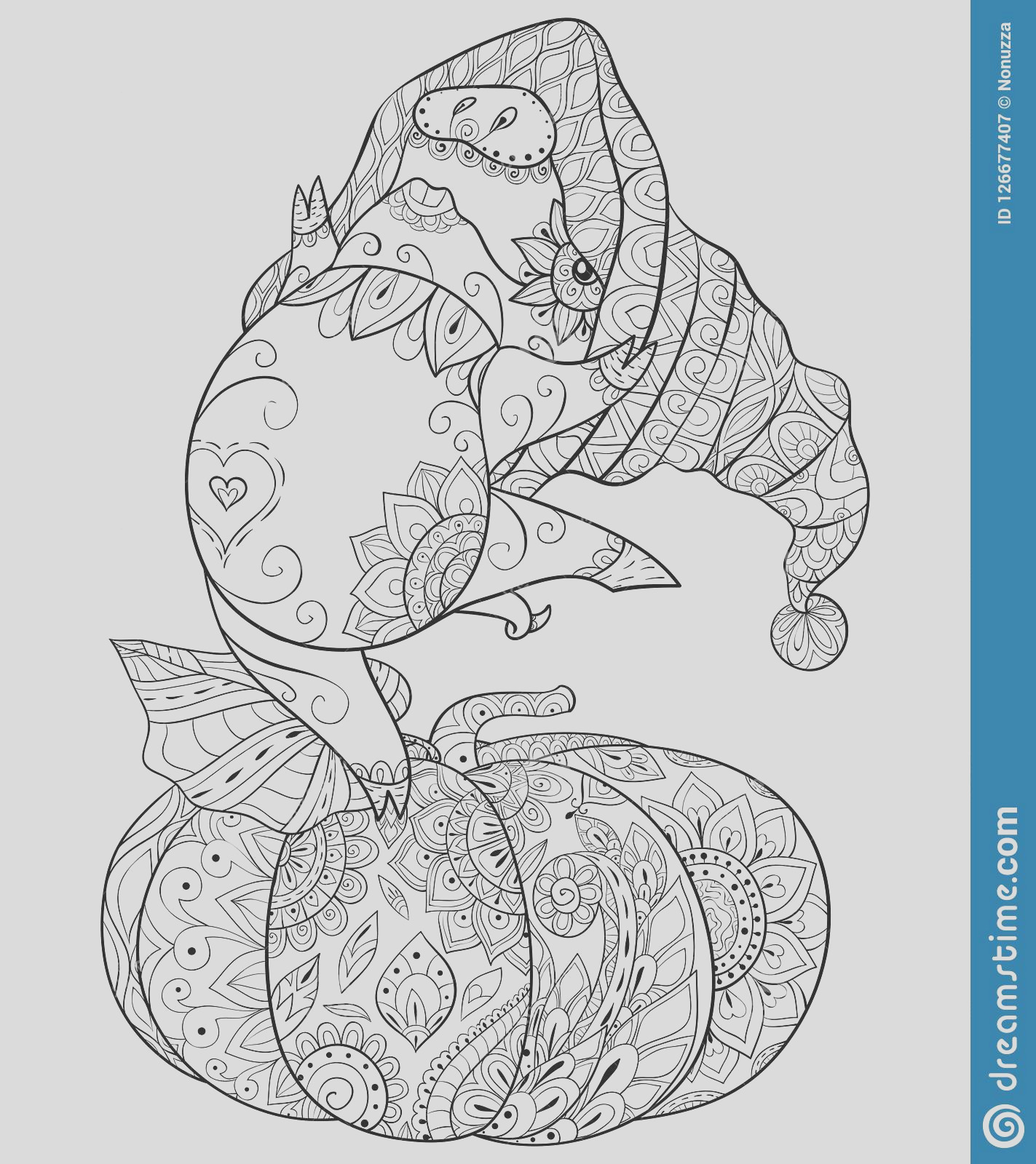 adult coloring book page halloween theme illustration relaxing cute dancing pig wearing halloween hat pumpkin image