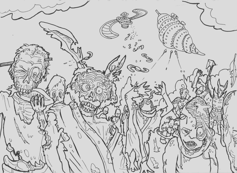 zombie coloring pages for adults and