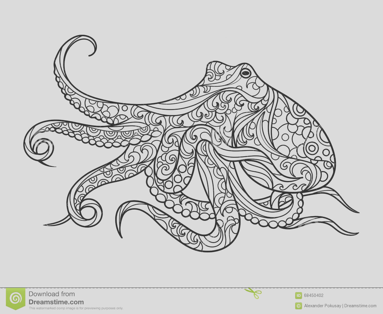 stock illustration octopus coloring book adults vector sea animal illustration anti stress adult zentangle style black white image