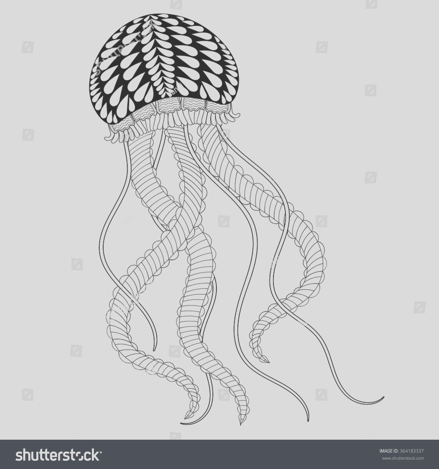 stock vector hand drawn artistic sea jellyfish for adult coloring pages in n doodle zentangle style mehndi
