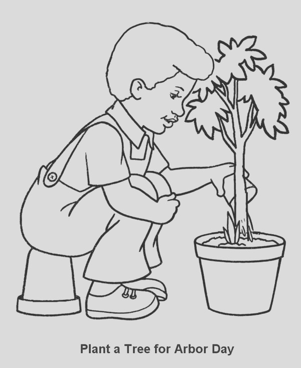 plants a tree fro arbor day coloring page