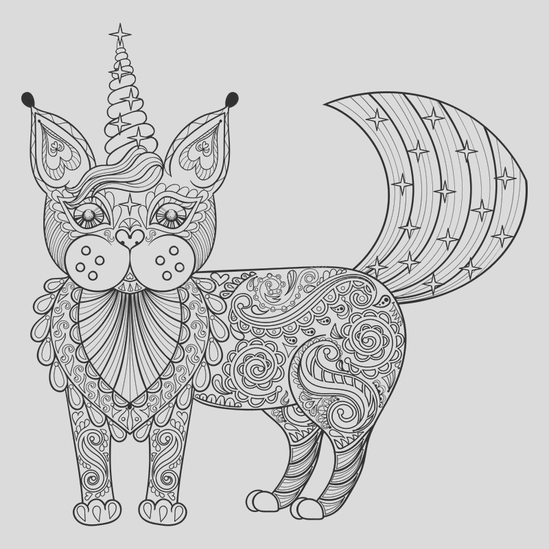 stock illustration vector zentangle magic cat unicorn black print adult anti s stress coloring page hand drawn artistically ethnic ornamental image